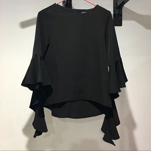 Long bell sleeve black dressy blouse